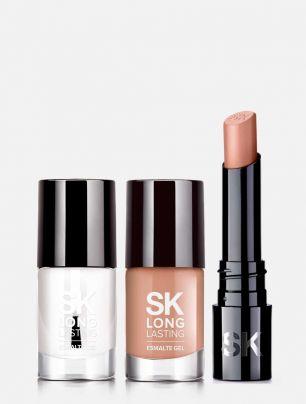 Set Labial + Esmalte + Top Coat  Nude Elegante SK LL